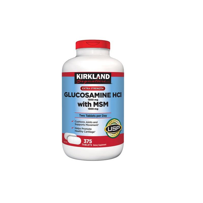Glucosamine HCI 1500mg /MSM 1500 mg Kirkland 375 Tabletas
