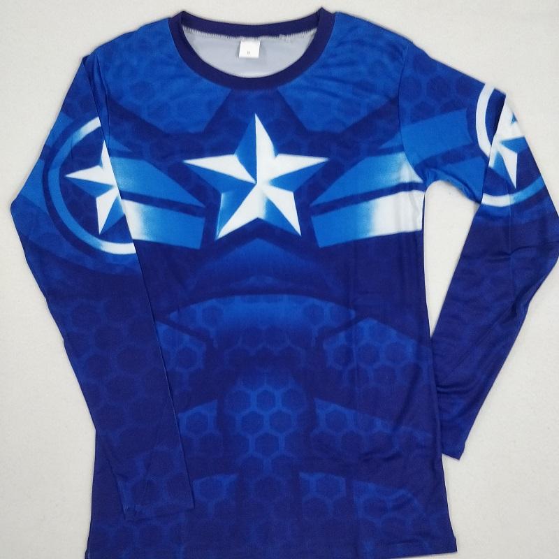 Camiseta Compresion Capitan America Larga Talla L